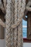 Łódkowaci drewniani rigglings i arkany zdjęcia stock
