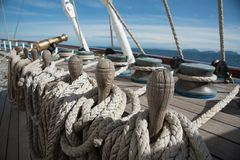 Łódkowaci drewniani rigglings i arkany obrazy royalty free