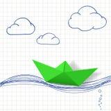 łódkowatego układu rękodzielniczy origami papieru planu wektor tła jaskrawy ilustracyjny pomarańcze zapas Zdjęcie Royalty Free