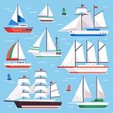 łódkowaty żagiel Transport żaglówka dla wodnej żaglówki rasy Płaskiego luksusowego żeglowania ilustraci wektorowy set royalty ilustracja