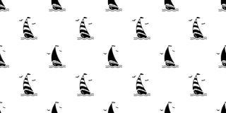 Łódkowaty bezszwowy deseniowy morski Nautyczny denny szalik odizolowywający wektor kotwicy steru pirata oceanu Seagull powtórki t ilustracji