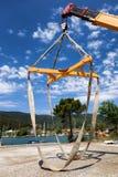 Łódkowaty dźwignięcie żuraw Obrazy Royalty Free
