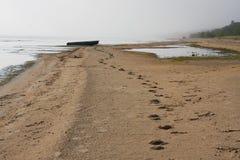 łódkowaty linii brzegowej połowu krajobraz obraz stock