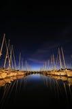 łódkowaty marina noc żagiel Fotografia Royalty Free