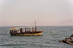 Łódkowaty morze Galilee blisko Tiberias Izrael Fotografia Stock