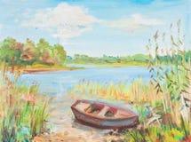 Łódkowaty pobliski wybrzeże royalty ilustracja