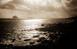 łódkowaty skutka światła morze silny Obrazy Stock