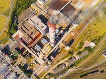 Łącząca elektrownia z wściekać się komin i upał Obraz Stock