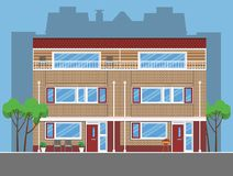 Łączący prości domy miejscy Mieszkanie styl Obraz Royalty Free