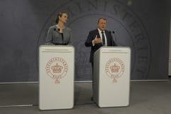 ŁĄCZNA konferencja prasowa PM I minister edukacji Fotografia Royalty Free