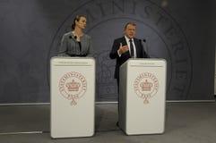 ŁĄCZNA konferencja prasowa PM I minister edukacji Zdjęcia Royalty Free