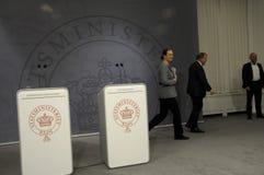 ŁĄCZNA konferencja prasowa PM I minister edukacji Zdjęcie Royalty Free