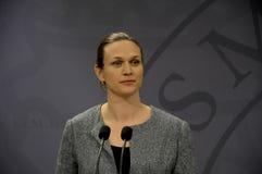 ŁĄCZNA konferencja prasowa PM I minister edukacji Zdjęcie Stock