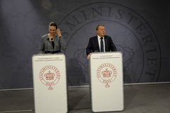 ŁĄCZNA konferencja prasowa PM I minister edukacji Zdjęcia Stock