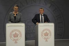 ŁĄCZNA konferencja prasowa PM I minister edukacji Obrazy Royalty Free