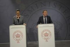 ŁĄCZNA konferencja prasowa PM I minister edukacji Fotografia Stock