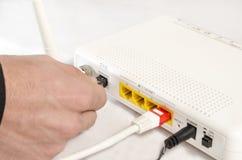 Łączyć modem dla wysokiego prędkość interneta fotografia royalty free