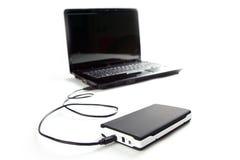 łączy dyska laptop zewnętrznie ciężkiego Obraz Royalty Free