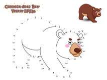 Łączy kropki i Rysuje Ślicznego kreskówka niedźwiedzia Edukacyjna gra fo royalty ilustracja