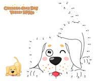 Łączy kropki i Rysuje Ślicznego kreskówka psa szczeniaka labradora Educa royalty ilustracja