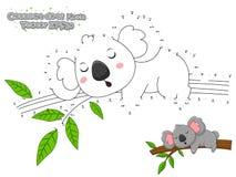 Łączy kropki i Rysuje Ślicznej kreskówki koali Edukacyjna gra f ilustracja wektor
