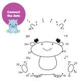 Łączy kropki liczbami Edukacyjna gra dla dzieci i dzieciaków Zwierzę temat, kreskówka hipopotam ilustracji
