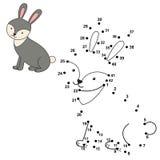 Łączy kropki rysować ślicznego królika i barwić je ilustracja wektor