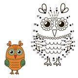 Łączy kropki rysować ślicznej sowy i barwić je ilustracji