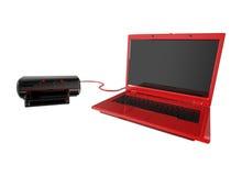łączy laptopu drukarki czerwień Zdjęcia Stock