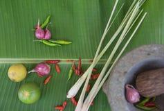 Łączy polewkę, ziołowy Tajlandzki jedzenie na bananowym liściu Fotografia Royalty Free