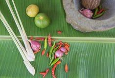 Łączy polewkę, ziołowy Tajlandzki jedzenie na bananowym liściu Obrazy Royalty Free