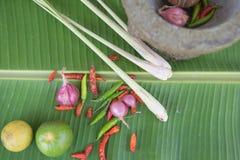 Łączy polewkę, ziołowy Tajlandzki jedzenie na bananowym liściu tom yum Zdjęcia Stock