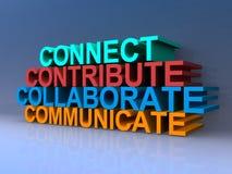 Łączy, przyczynia się, kolaboruje, komunikuje, royalty ilustracja