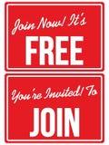 Łączy Teraz Swobodnie członkostwa zaproszenia znaki Zdjęcia Stock