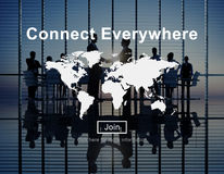 Łączy Wszędzie Globalnej sieci Na całym świecie pojęcie Fotografia Stock