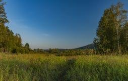Łąka w wieczór blisko Soumarsky Najwięcej wioski zdjęcia stock