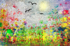 Łąka z śródpolnymi kolorami royalty ilustracja