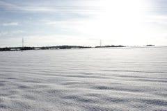 łąka zakrywający śnieg Obrazy Royalty Free