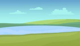Łąki i jezioro na słonecznym dniu ilustracji