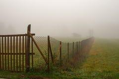 Łąki i pola na mgłowym obrazy royalty free