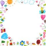 Łąki rama - dziecko gryzmoli rysunku tło odizolowywającego Fotografia Stock