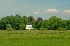 Łąki w flemish wsi z galanteryjnym dworem wewnątrz między drzewa ehind zdjęcie royalty free