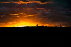 Łąkowa zmierzchu krajobrazu scena, Urugwaj Zdjęcia Stock