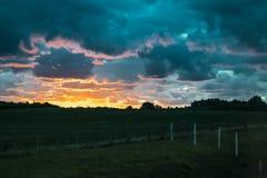 Łąkowa zmierzchu krajobrazu scena, Urugwaj Zdjęcia Royalty Free