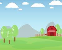 Łąkowy contryside kształtuje teren widoku tło Obrazy Royalty Free