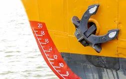 Łęk statek z szkic skala kotwicą i numerowaniem fotografia stock