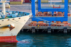 Łęk Wiążący molo Freighter Zdjęcia Royalty Free