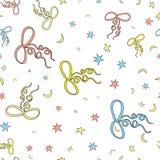 Łęki i gwiazdy, księżyc bezszwowy wzór Biały tło Cartoo Obraz Royalty Free