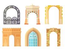 Łękowaty projekt architektury budowy ramy klasyk, szpaltowej struktury bramy drzwiowa fasada i bramy budować antyczny, ilustracji