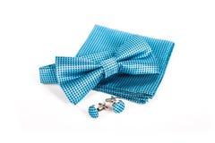 Łęku krawat, chusteczka i cufflinks, Ślubny akcesoria fornal Zdjęcie Stock